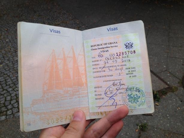 Mon visa pour le Ghana / My visa for Ghana
